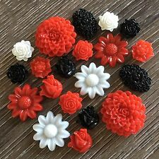 20 Red Black White Flower Daisy Rose Resin Cabochon Flatback Embellishment DIY