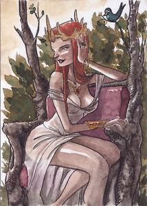 Braiiinz! Mystica Tarot III The Empress original sketch card art Juan Méndez