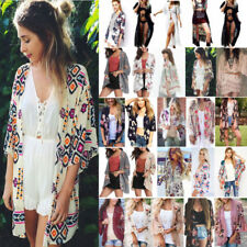 Women Floral Boho Summer Beach Loose Kimono Cardigan Jacket Tops Bikini Cover Up