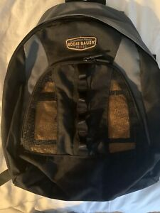 Vtg Eddie Bauer Backpack Black w/ Green Canvas Book Bag Hiking