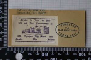 Thompson High School Fireside OH 1968 5c Local Post mail Flat Rock used on Piece