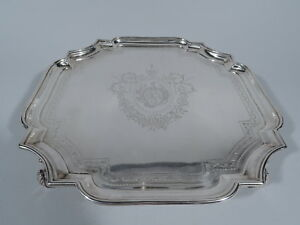 Georgian Salver - Antique Cartouche Tray - English Sterling Silver   Tuite 1727