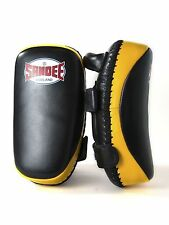 Sandee Black & Yellow Curved Thai Leather Pads Kick Boxing Muay Thai