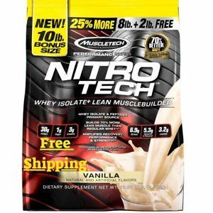 Muscletech, Nitro Tech, Whey Peptides & Isolate Lean  10 LBS Vanilla