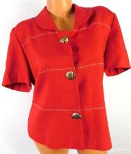 Leslie fay red white stitch folded collar animal metallic button down top 14
