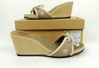 Timberland Womens 8 Natural Slide Wedge Heels Shoes Taupe Beige