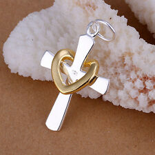 Wholesale New Fashion Solid Silver Women's Heart Cross pendant NP094 For Gift