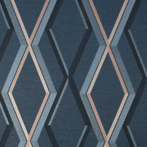 Superfresco Prestige Geometric Wallpaper Navy Gold Textured Metallic Vinyl