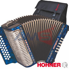 HOHNER CORONA II Classic 31 Button FBE Diatonic Accordion - Blue + Bag, Straps
