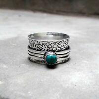 Turquoise Solid 925 Sterling Silver Spinner Ring Meditation Statement Ring a6789