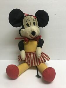 Antique Vintage Minnie Mouse Rag Doll Plush Doll Apron Red Bow