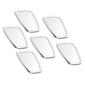 VESPA/LAMBRETTA Chromed Rectangle Stadium Mirror Head White Rubber MOD x6