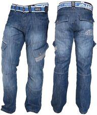 Mens Crosshatch Combat Cargo Jeans Denim Trousers Stone Dark or Light Wash - New