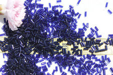 Midnight Blue Trans  4mm #2 Straight Italian Vintage Venetian Bugle Beads 1oz