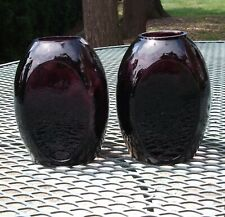 Vintage South Jersey Clevenger Amethyst Inverted Diamond Bookend Vase Pair