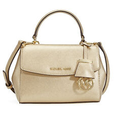 Michael Kors Ava Extra Smal Saffiano Leather Crossbody - Pale Gold