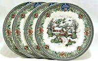 "Royal Stafford Christmas Snow Village Porcelain 11"" Dinner Plates Set of 4 New"