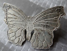 vintage SILVER artisan butterfly brooch c pin c. 1970s -C689