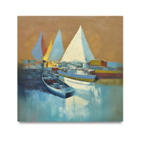 NY Art - Modern Yacht Club Fine Art 36x36 Original Oil Painting on Canvas