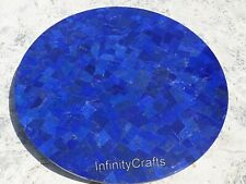 18 x 18 Inches Marble Coffee Table Top Round End Table with Lapis Lazuli Stones