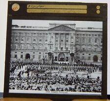 Antique Glass Slide Buckingham Palace King George V Silver Jubilee Procession