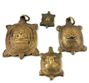 Magic Wealth 4 TURTLE Amulet Coins LP LIEW Thai Monk Buddha Yant Talisman P#5