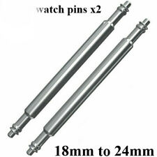 2 x Strong Stainless Steel Watch Strap Spring Bars Pins - 18/20/22/24mm