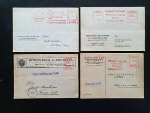 Österreich 4 Geschäfts-Postkarten aus 1943-44 mit Freistempel (1)