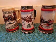 set of 3 Budweiser steins- 1988, 1991, 1992