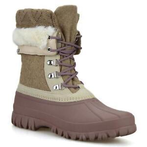 Womens Skechers Waterproof Walking Warm Fur Snow Winter MidCalf Boots Shoes Size