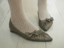 Bronze Gold Pointed Toe Low heel Bow Ballet Shoes 23cm UK4