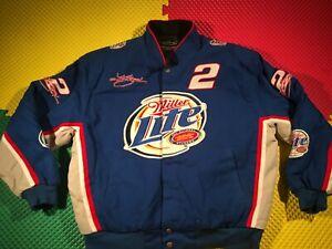 Rare Kurt Busch #2 Miller Lite CPI Blue Racing Jacket Men's Size XL Excellent