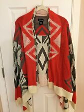 WET SEAL SHAWL SWEATER OPEN CARDIGAN LONG SLEEVES GRAY WHITE HOT PINK LARGE