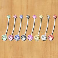 8pcs Maternity Belly Bar Flexible Crystal Pregnancy Navel Ring Belly But TCH