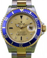 Rolex Submariner 18k Yellow Gold/Steel Serti Diamond Dial Mens Watch A 16613