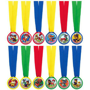 PAW PATROL PARTY SUPPLIES FAVOURS 12 MINI AWARD MEDALS