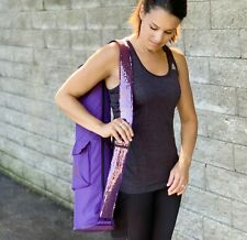 Yoga Mat Bag, Purple Shoulder Carrier with Sequin Strap, Side Zipper