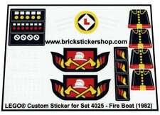 Replica Transparent Precut Sticker Lego® Boat set 4025 - Fire Boat (1982)