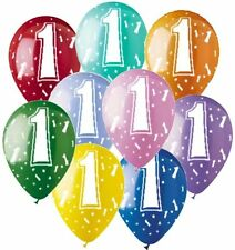 """9 pc - 11"""" #1 Latex Balloon Party Decoration Happy Birthday Baby One First 1st"""