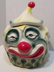 "Vintage McCoy Pottery Sad Clown Cookie Jar #255 1940 - 1950  10"" Tall Marked."