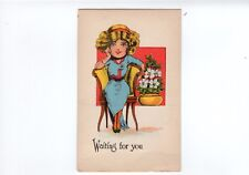 Waiting For You Love Romance Valentine Antique Postcard Unused