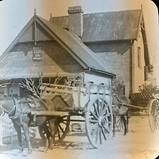 Vtg Keystone Magic Lantern Slide Photo Horse And Carts Alta Gracia Argentina