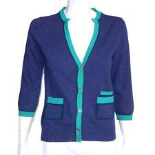 BALLANTYNE SCOTLAND 100% Cashmere Blueberry Aqua Cardigan Embroidery Sweater 36