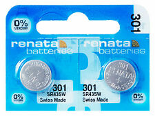 Free Batteries Silver Oxide sr43sw 1.55. 2 x Renata 301 Batteries Blister Mercury