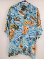 Falcon Bay Hawaiian Aloha Outrigger Surfing Hula Rayon Shirt Men's Size XL