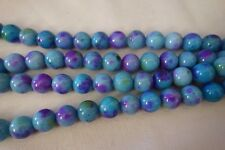 20 Blue/Multi Dyed Natural Jade 10mm Gemstone Beads #3819 Combine Post