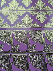 Peel Off Craft Stickers Lilac Pink Gold Foiled Corner Ornate Curlicue