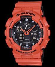 GA-100L-4A Orange G-shock Casio Watches 200m Resin Band Analog Digital New Light