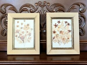 Vintage Pressed Flowers Collage Art Wood Framed Set Shabby Chic Wall Decor