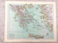 1894 Antique Map of Greece Greek Islands Crete Old Original 19th Century French
